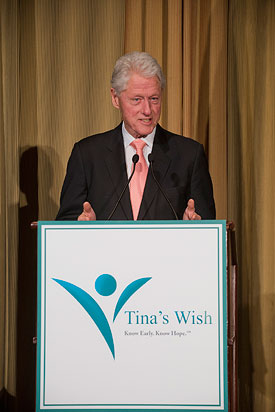 Tina's Wish presents the inaugural Global Women's Health Award to President Bill Clinton, April 14, 2015